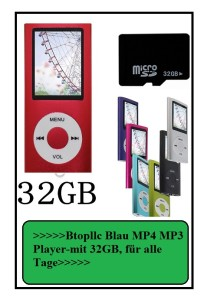 Btopllc Blau MP4 MP3 Player-mit 32GB MicroSD Speicherkarte 1,81 Zoll Farbdisplay Musik Player